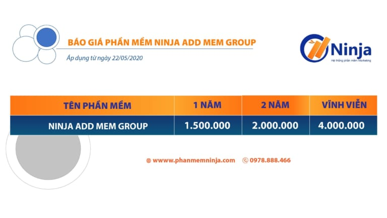bảng giá phần mềm ninja add mem group