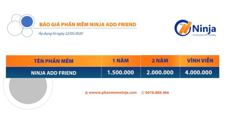 Bảng giá phần mềm ninja add friend