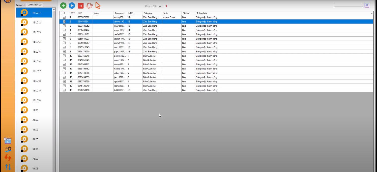 Phần mềm nuôi nick zalo hỗ trợ nuôi nhiều tài khoản cùng lúc