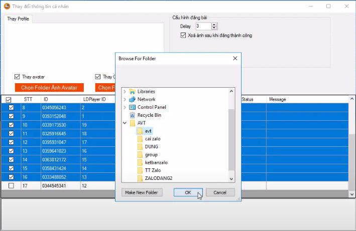 Phần mềm Ninja System Zalo hỗ trợ tự động thay đổi avatar trên nhiều tài khoản