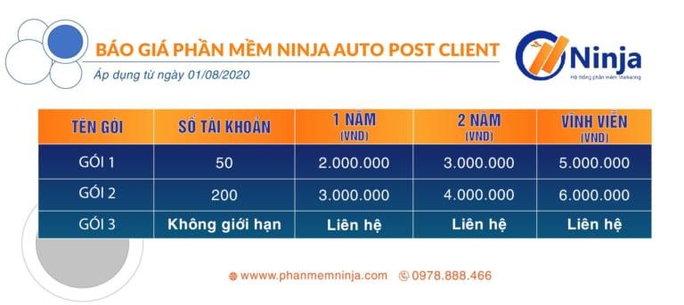 bảng giá ninja auto post client